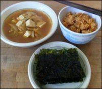 Kimchi jjigae with side dish picture