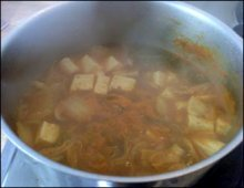 Kimchi jjigae in saucepan picture