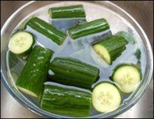 Cucumber in salt water