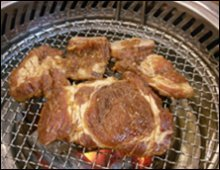 Galbi on Korean barbecue