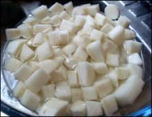 Cubed Radish in water