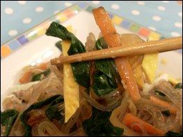 Japchae Noodles close up