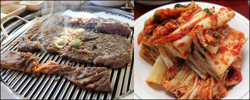 Korean food picture Bulgogi and kimchi