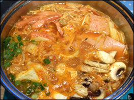 Budae Jjigae cooking