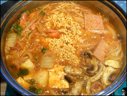 Budae jjigae ready to eat
