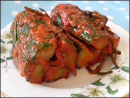 Cucumber Kimchi Served